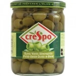 CRESPO PITTED GREEN OLIVES GLASS JARS -8x354g